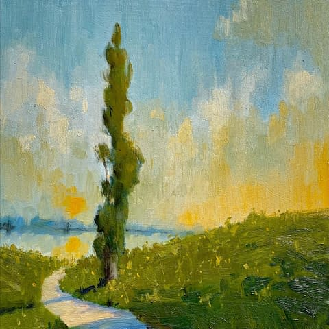 a sunset painting by Gail Kelly art